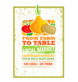From farm to table fresh local food print concept vector image
