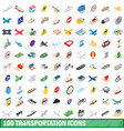 100 transportation icons set isometric 3d style vector image