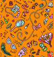 bright orange seamless pattern with woman vector image