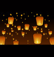Chinese lanterns in the night sky vector image