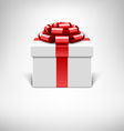 white gift box with red ribbon vector image vector image