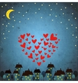 background with night sky star and heart vector image