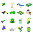 Brazil isometric 3d icons vector image