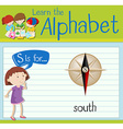 Flashcard letter S is for south vector image