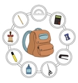 School backpack contents vector image