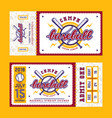 template for baseball ticket vector image