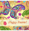 Vivid floral greeting card Happy Easter vector image