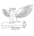 Pirate parrot in flight with outstretched wings vector image