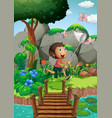 scene with boy catching insects in garden vector image