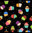 colorful cupcakes or muffins pattern vector image