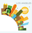 los angeles skyline with color buildings blue sky vector image