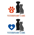 two signs with pet silhouette vector image