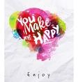 Watercolor poster you make me happy vector image vector image