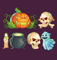 cartoon characters icons stickers for halloween vector image