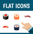 flat icon sushi set of gourmet japanese food vector image