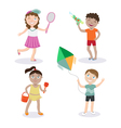 Kids on the Beach Summer Children with Toys vector image