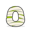Letter O Egyptian zombies Mummy ABC icon coiled vector image