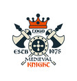 medieval knight logo escb 1975 vintage badge or vector image