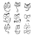 nine facial expressions on white background vector image