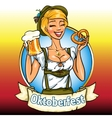 Pretty Bavarian girl with beer and pretzel vector image