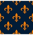 Seamless orange fleur-de-lis floral pattern vector image