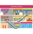 Shopping Center Storefronts Design Flat vector image