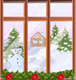 window view with winter background vector image