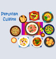 peruvian cuisine icon with seafood dishes vector image