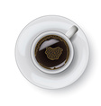 Coffee cup on plate realistic isolsted on white vector image