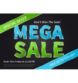 Banner Mega Sale on black vector image