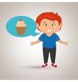 boy cartoon cup cake vector image
