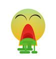 green cartoon face sick feeling bad people emotion vector image