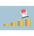 Happy businessman jumping on the money step vector image