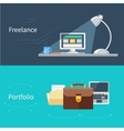 Set of flat concept for portfolio and freelance vector image