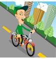 urban biking - teenage boy and bike in city vector image
