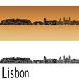 Lisbon V2 skyline in orange vector image vector image