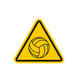 attention volleyball danger yellow road sign vector image