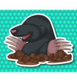 Groudhog coming out of the ground vector image