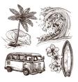 Surfing Sketch Icon Set vector image