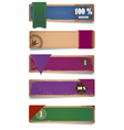 A set of promo cardboard paper banners with ribbon vector image