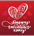 card happy valentines day hand drawn brush vector image