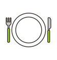 dish with fork and knife vector image