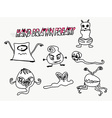 funny monsters characters set doodle vector image