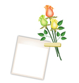 Three Beautiful Roses with Blank Photo Frames vector image