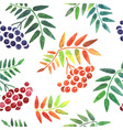 Watercolor leaves and berries seamless pattern vector image