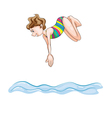 a girl diving into water vector image vector image