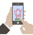 Hand holing smart phone vector image