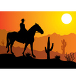 man on the horse in desert vector image