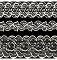 Lace fabric seamless borders with abstract flowers vector image