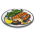 grilled salmon steak vector image